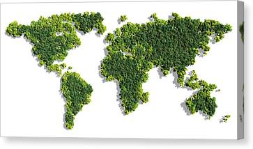 World Map Made Of Green Trees Canvas Print by Johan Swanepoel