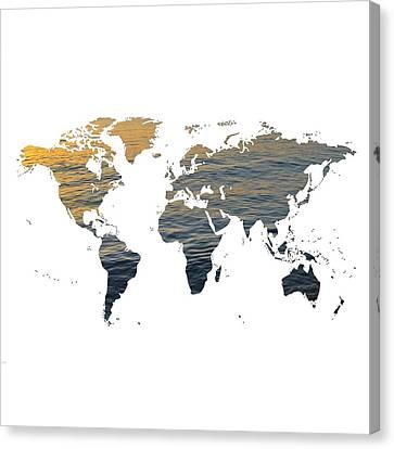 World Map - Ocean Texture Canvas Print by Marianna Mills