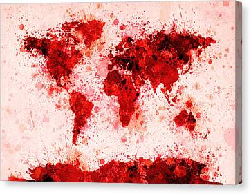 World Map Paint Splashes Red Canvas Print by Michael Tompsett