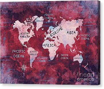 World Map Red Canvas Print by Justyna JBJart