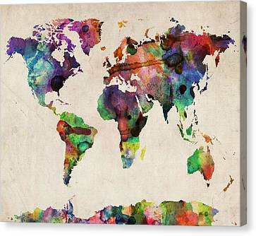 World Map Watercolor 16 X 20 Canvas Print by Michael Tompsett