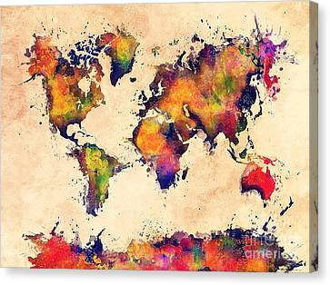 World Map Watercolor 3 Canvas Print by Justyna JBJart