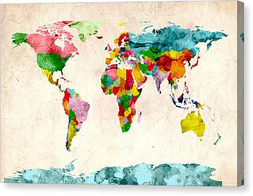 World Map Watercolors Canvas Print by Michael Tompsett