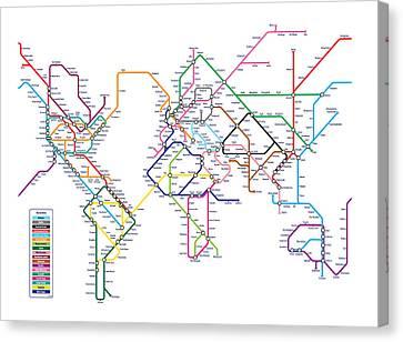 World Metro Map Canvas Print by Michael Tompsett