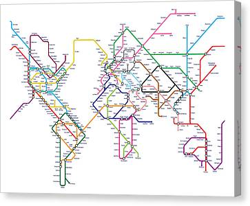 World Metro Tube Map Canvas Print by Michael Tompsett