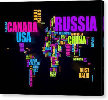 World Text Map 16x20 Canvas Print by Michael Tompsett