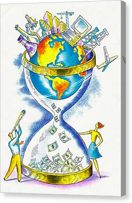 Worldwide Investing And Profit Canvas Print by Leon Zernitsky