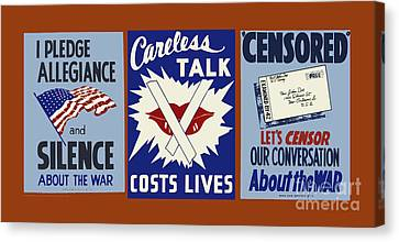 Wpa Posters 034  Careless Talk Costs Lives Canvas Print by WPA Works Progress Administration