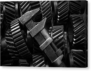 Wrench On Gears Canvas Print by Garry Gay