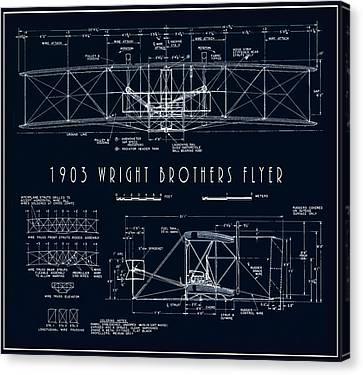 Wright Bros Flyer Aeroplane Blueprint  1903 Canvas Print by Daniel Hagerman