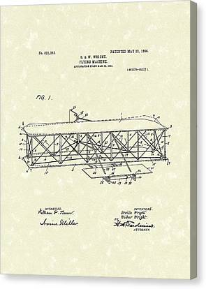 Wright  Brothers Flying Machine 1906 Patent Art Canvas Print by Prior Art Design