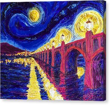 Wrightsville Bridge At Night Canvas Print by Paris Wyatt Llanso