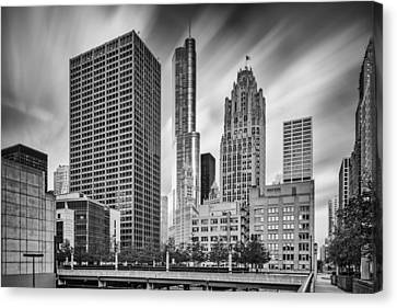 Wrigley Equitable Buildings - Trump Chicago Tribune Tower - Black White - Chicago Illinois Canvas Print by Silvio Ligutti