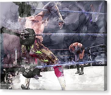 Wwe Wrestling 111 Canvas Print by Jani Heinonen