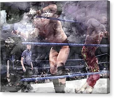 Wwe Wrestling 124 Canvas Print by Jani Heinonen