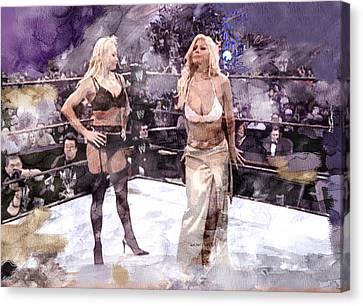 Wwe Wrestling 346 Canvas Print by Jani Heinonen