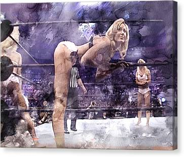 Wwe Wrestling 347 Canvas Print by Jani Heinonen