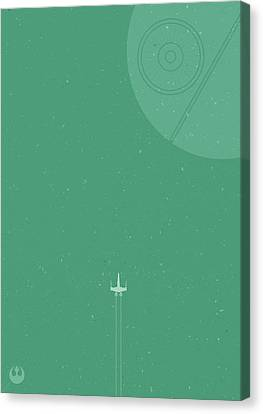 X-wing Meets Death Star Canvas Print by Samuel Whitton