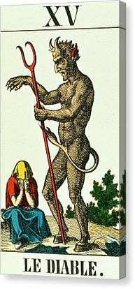 Xv The Devil   Tarot Card Canvas Print by French School