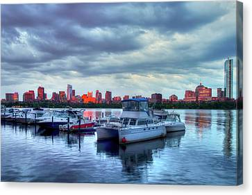 Yachts Docked On The Charles River - Boston Canvas Print by Joann Vitali