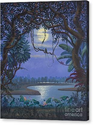 Yamuna At Night Canvas Print by Vrindavan Das