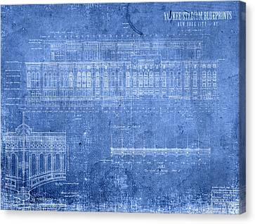 Yankee Stadium New York City Blueprints Canvas Print by Design Turnpike
