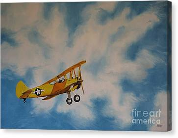 Yellow Airplane Canvas Print by Jindra Noewi
