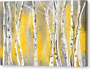 Yellow And Gray Birch Trees Canvas Print by Lourry Legarde