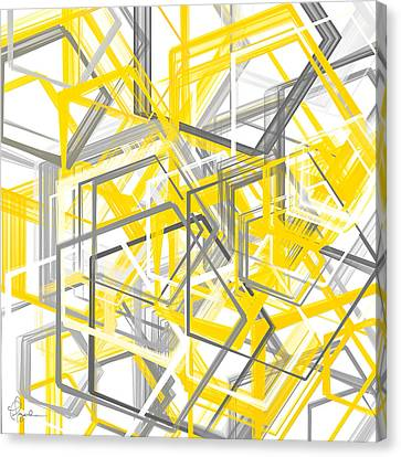 Yellow And Gray Geometric Shapes Art Canvas Print by Lourry Legarde