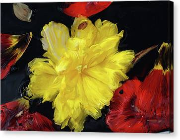 Yellow And Red Flower Painting  Canvas Print by Don  Wright