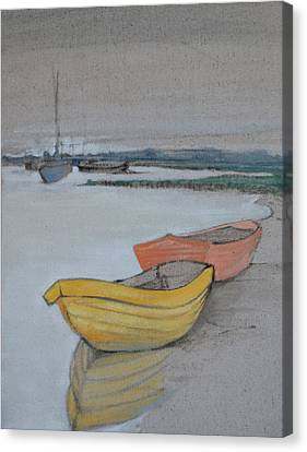 Yellow Boat 2 Canvas Print by Amy Bernays