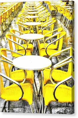 Yellow Chairs In Venice # 2 Canvas Print by Mel Steinhauer