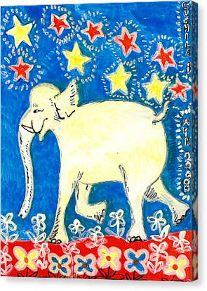 Yellow Elephant Facing Left Canvas Print by Sushila Burgess