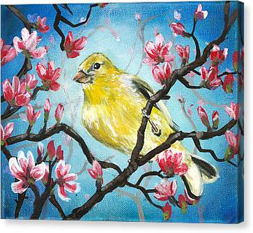 Yellow Finch Bird By Gretchen Smith Canvas Print by Gretchen  Smith