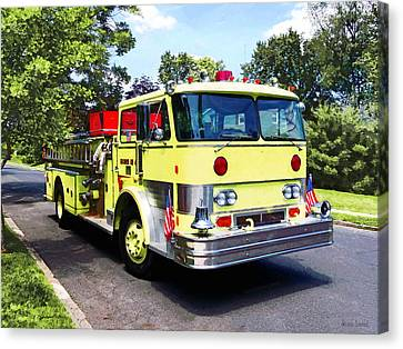 Yellow Fire Truck Canvas Print by Susan Savad