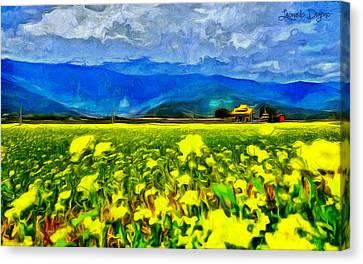 Yellow Flowers - Da Canvas Print by Leonardo Digenio