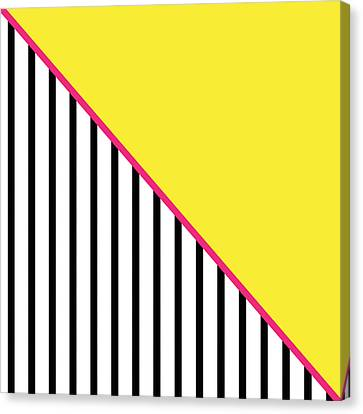 Yellow Pink And Black Geometric Canvas Print by Linda Woods