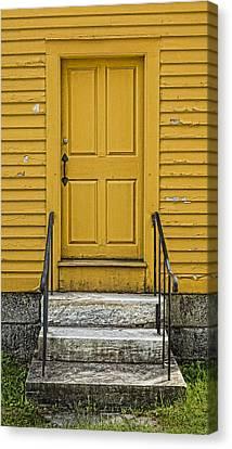 Yellow Shaker Door Canvas Print by Stephen Stookey