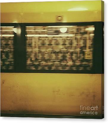 Yellow Subway Train Canvas Print by Ivy Ho