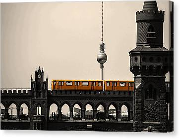 Yellow Train And A Tower Canvas Print by Nathan Wright