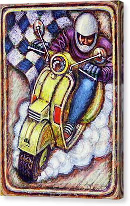 Yellow Vespa Canvas Print by Mark Howard Jones
