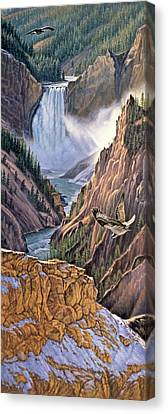Yellowstone Canyon-osprey Canvas Print by Paul Krapf