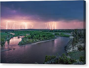 Yellowstone River Lightning Canvas Print by Leland D Howard