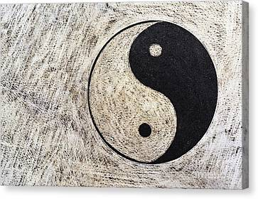 Yin And Yang Symbol On Drum Canvas Print by Sami Sarkis