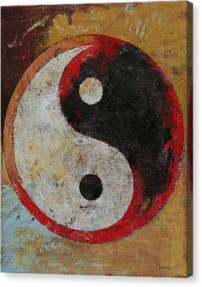 Yin Yang Red Dragon Canvas Print by Michael Creese