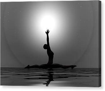 Yoga By Night - 3d Render Canvas Print by Elena Duvernay