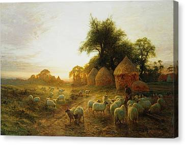 Yon Yellow Sunset Dying In The West Canvas Print by Joseph Farquharson
