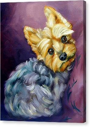 Yorkshire Terrier Yorkie Snuggles Canvas Print by Lyn Cook