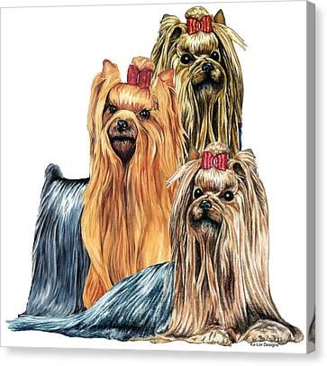 Yorkshire Terriers Canvas Print by Kathleen Sepulveda