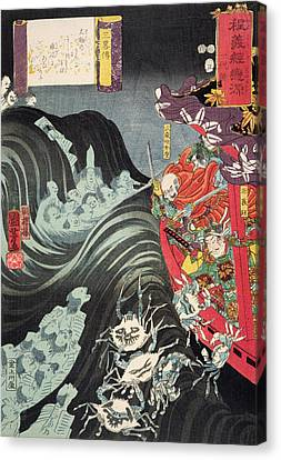 Yoshitsune With Benkei And Other Retainers In Their Ship Beset By The Ghosts Of Taira Canvas Print by Utagawa Kuniyoshi